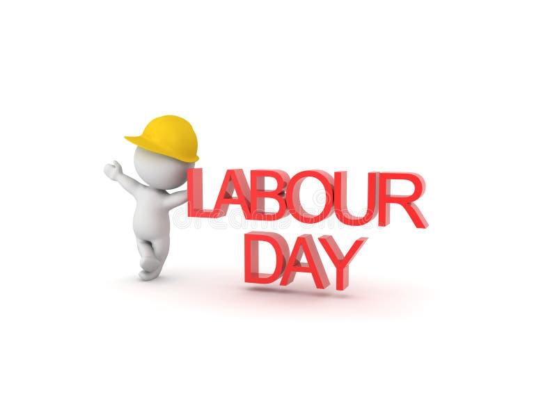 3D挥动和倾斜在劳动节标志的工作者 库存例证