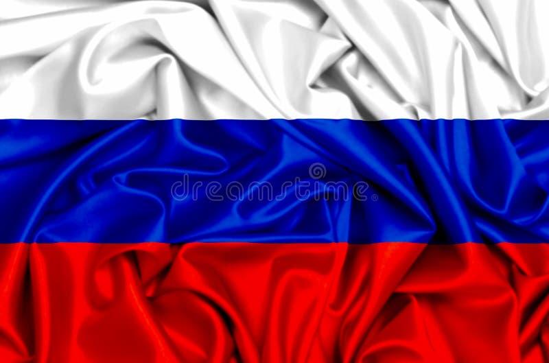 3d挥动在风的俄罗斯的旗子 库存例证