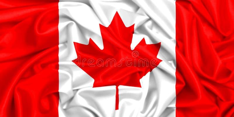3d挥动在风的加拿大的旗子 皇族释放例证