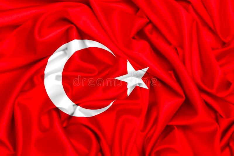 3d挥动在风的土耳其的旗子 向量例证