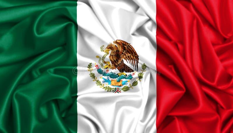 3d挥动在风的墨西哥的旗子 库存例证