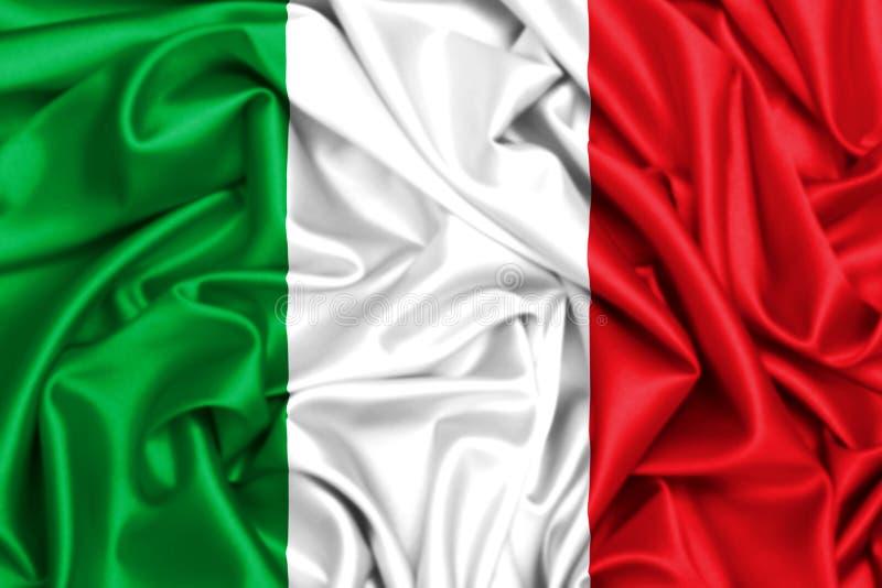 3d挥动在风的意大利的旗子 向量例证