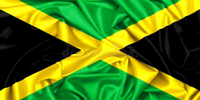 3d挥动在风的牙买加的旗子 向量例证