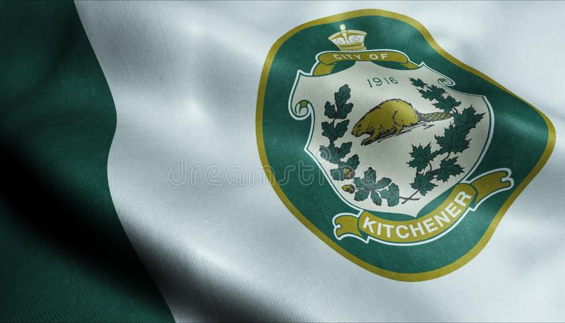 3D挥舞加拿大城旗Kitchener特写视图 免版税库存图片