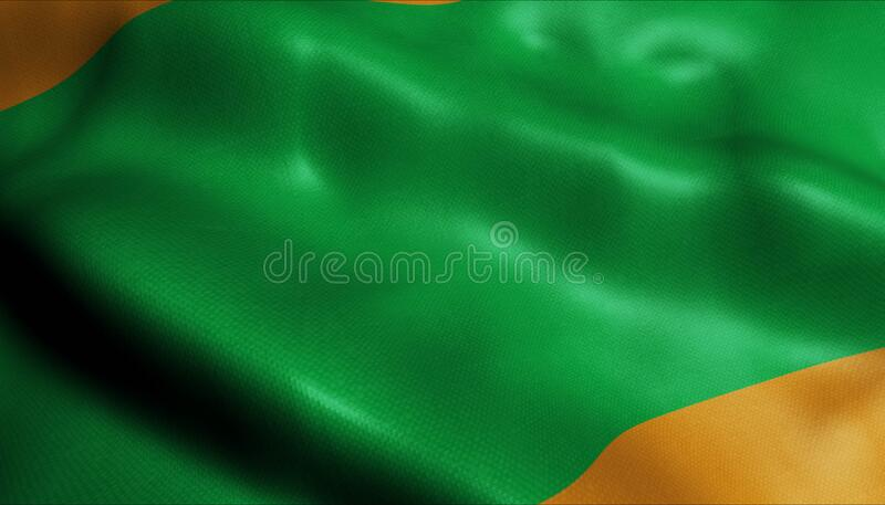 3D挥舞哥伦比亚城旗Envigado近视 免版税库存照片