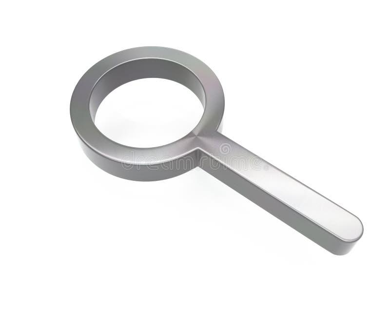 3d掠过了金属放大镜象 向量例证