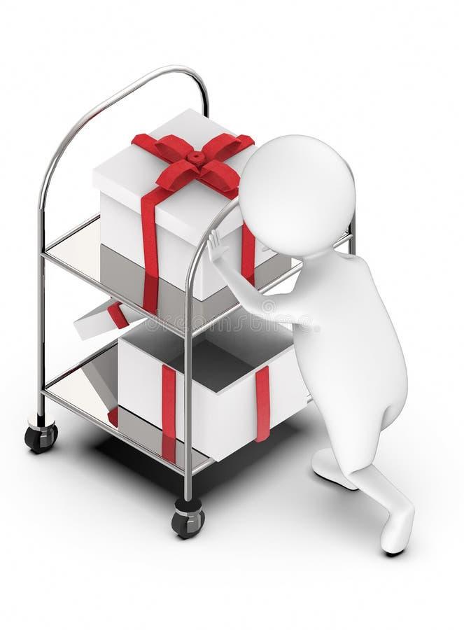 3d推挤有礼物盒的白人一名行李搬家工人在它 向量例证