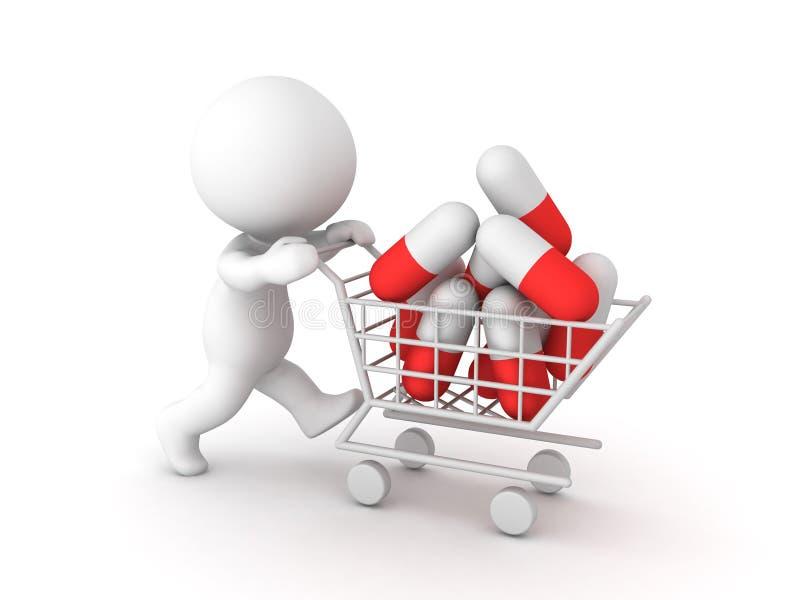 3D推挤有许多红色白色胶囊的字符购物车 库存例证