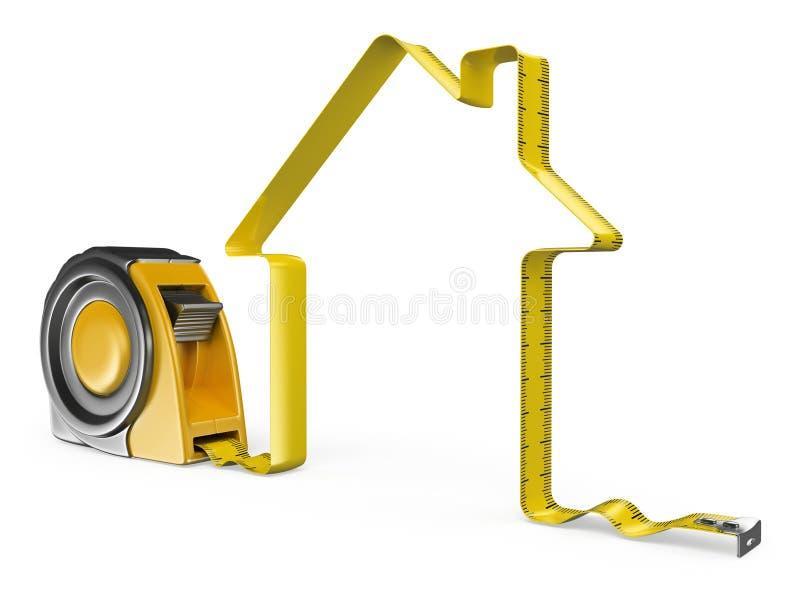 3D措施磁带 3d概念被回报的房子照片 向量例证