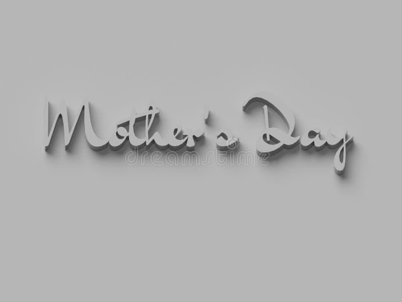 3D措辞`母亲` S在简单的背景的天` 皇族释放例证