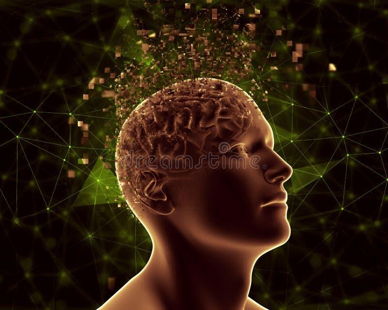 3D描述心理健康问题的男性图 皇族释放例证