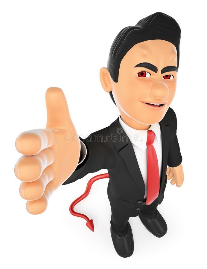 3D提供成交的商人恶魔 契约 向量例证