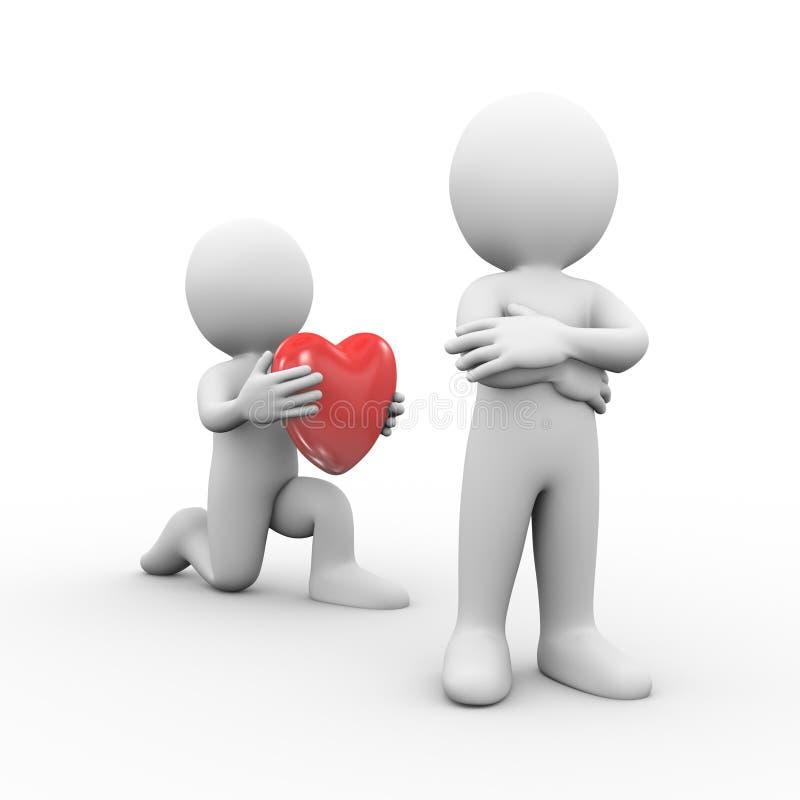 3d提出心脏的膝盖的人对朋友 皇族释放例证