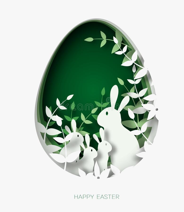 3d提取纸五颜六色的纸艺术复活节兔子家庭、草、花和绿色蛋形状的裁减例证 向量例证