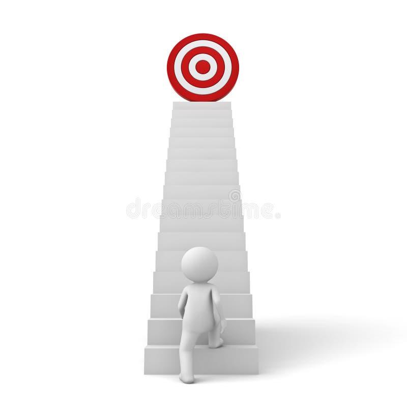 3d提高对他成功的目标的商人在台阶顶部 向量例证