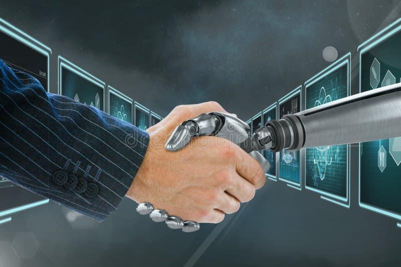 3D握手的机器人手和人反对与医疗接口的背景 向量例证