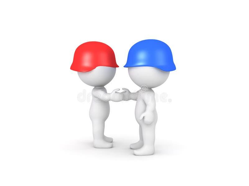 3D握手的红色和蓝色战士的例证 向量例证