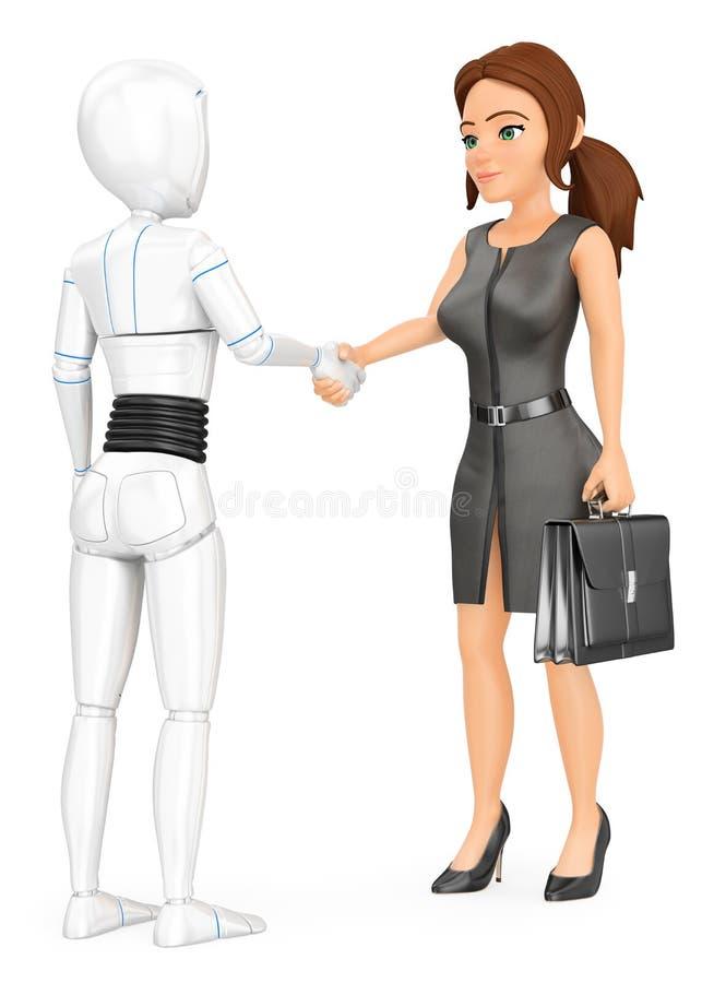 3D握有女商人的有人的特点的机器人手 皇族释放例证