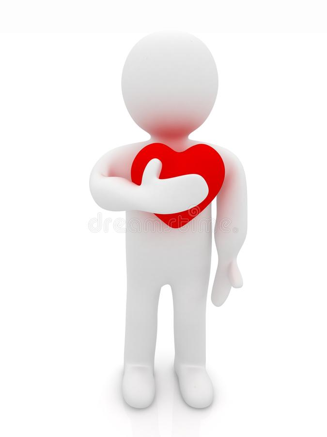 3d握他的手的人对他的心脏 向量例证