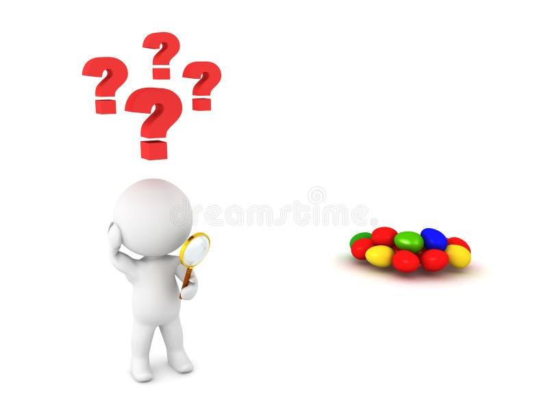 3D搜寻暗藏的复活节彩蛋的字符 向量例证