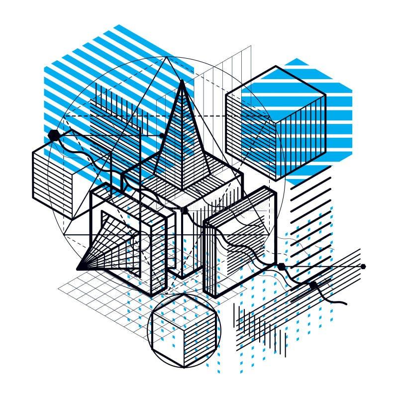 3d摘要传染媒介等量背景 立方体、六角形、正方形、长方形和不同的抽象元素布局  库存例证