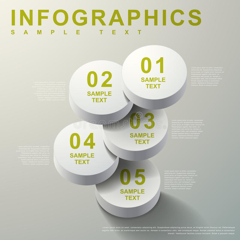 3d摘要圆筒infographics 库存例证