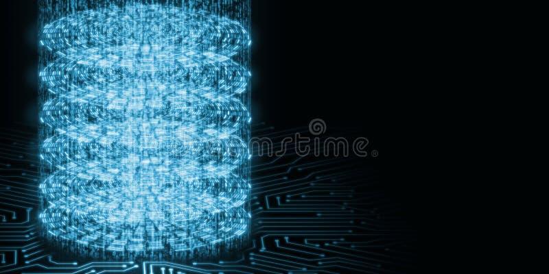 3D摘要大数据处理概念的例证 堆圈子与发光的二进制数的数据层 库存例证