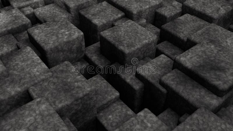 3D摘要,许多不同的大小立方体未来派背景的例证  3d几何形状翻译  库存例证