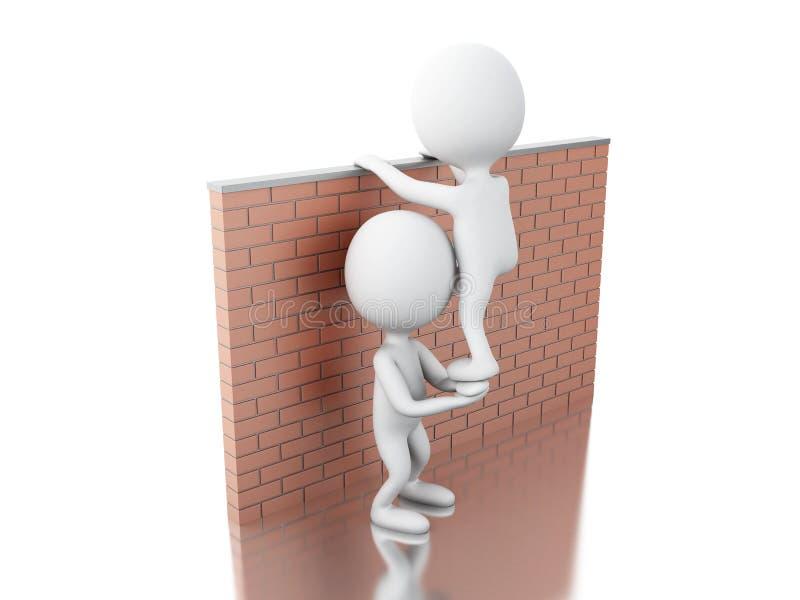 3d攀登砖墙的白人 皇族释放例证
