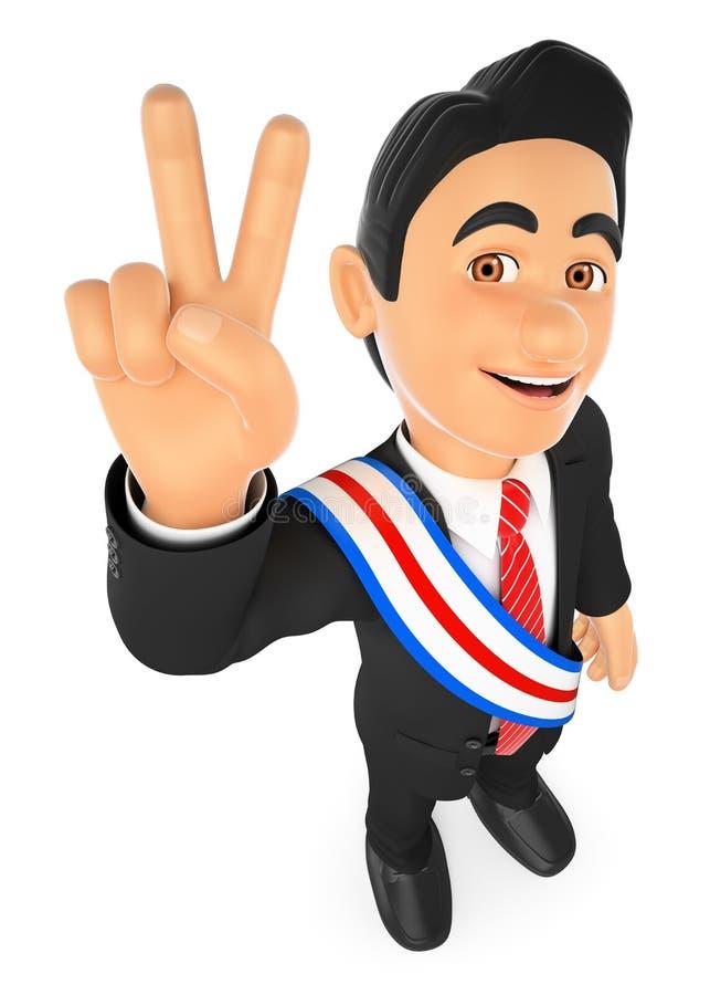 3D政治竞选优胜者 总统 皇族释放例证