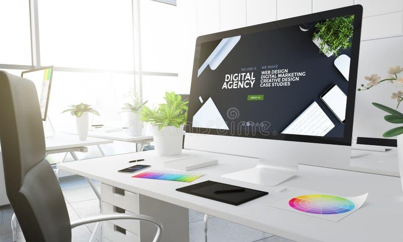 3d数字式机构设计演播室 皇族释放例证