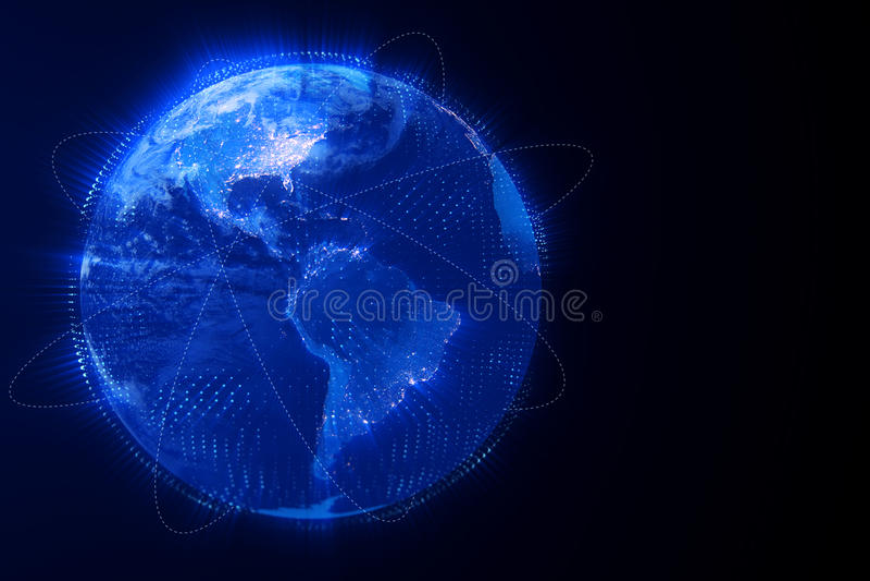 3d数字式翻译蓝色行星地球地球,与焕发连接,互联网媒介技术全球化概念,一些 皇族释放例证