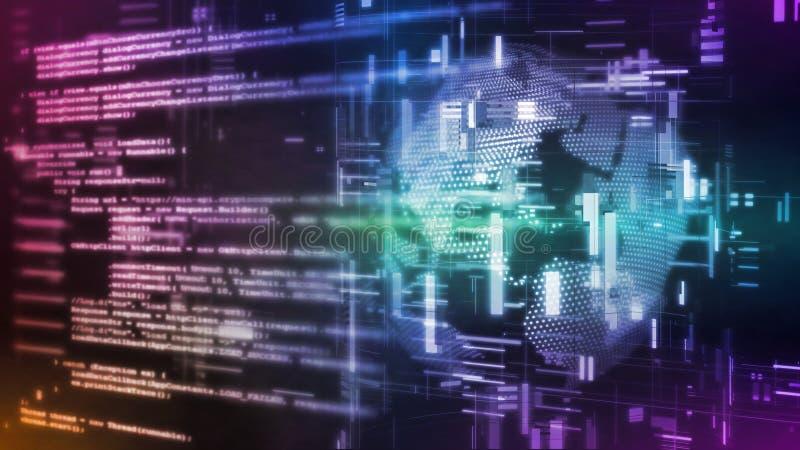 3D数字抽象技术翻译  在数据科学地球小点背景的计算机软件剧本二进制代码片断 向量例证