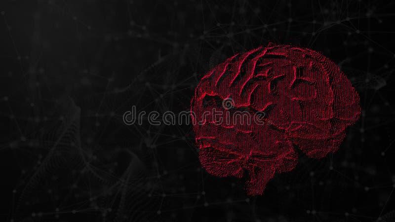3d数字脑子的例证在未来派人工智能的背景、头脑的概念和可能性的 向量例证