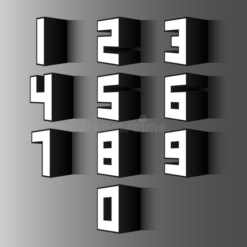 3d数字集合 库存例证
