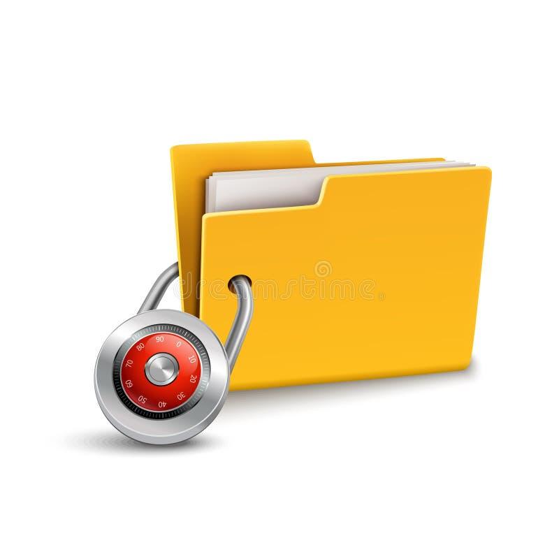 3d数据文件夹图标锁定安全白色 皇族释放例证