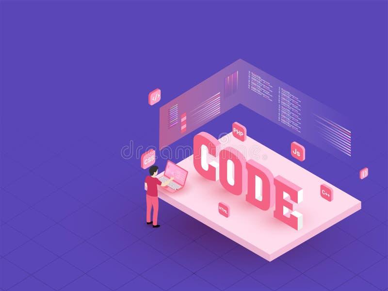 3D文本代码、人或者分析家关于膝上型计算机,多个c的分析数据 库存例证