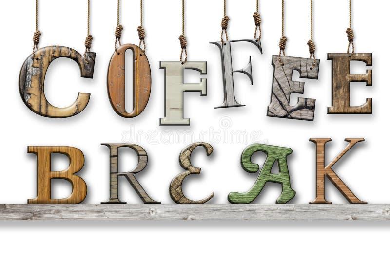 3d文本咖啡休息 木纹理 在架子垂悬和安置的信件 皇族释放例证