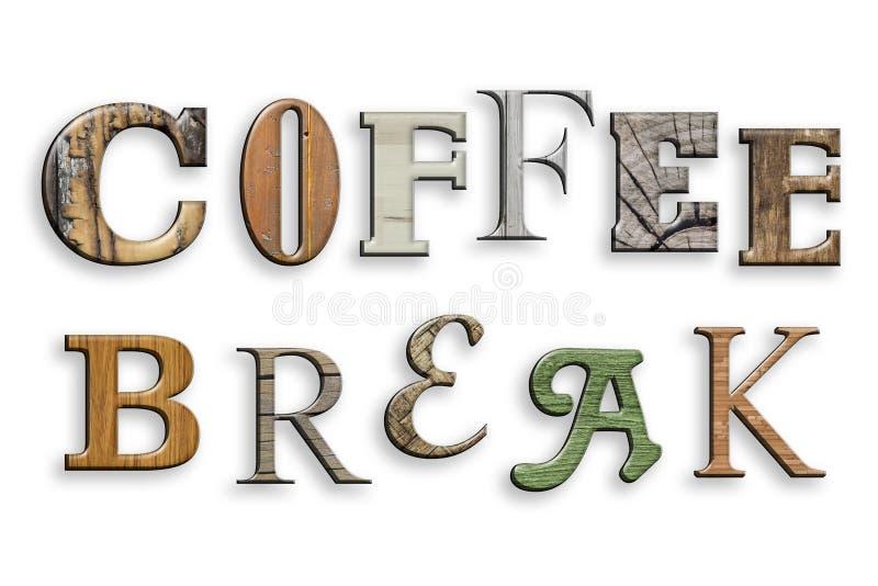3d文本咖啡休息 木纹理 在白色上写字 库存例证