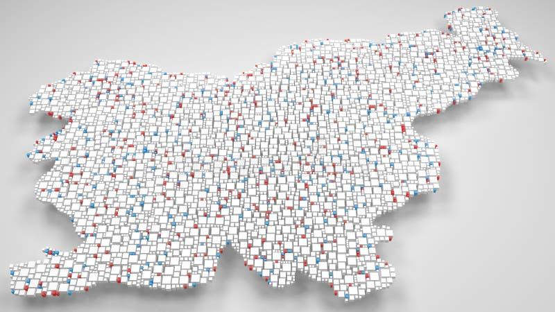 3D斯洛文尼亚-欧洲地图  皇族释放例证