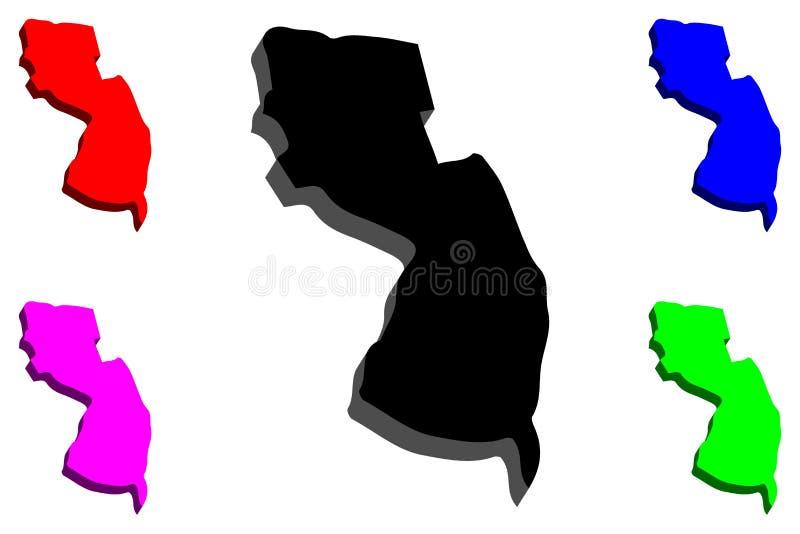 3D新泽西地图  皇族释放例证