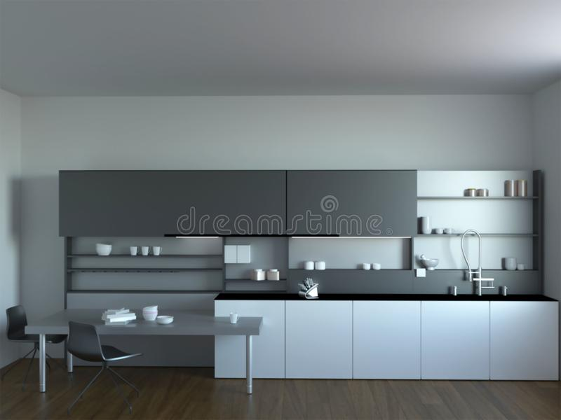 3d新的现代厨房内部翻译  库存例证