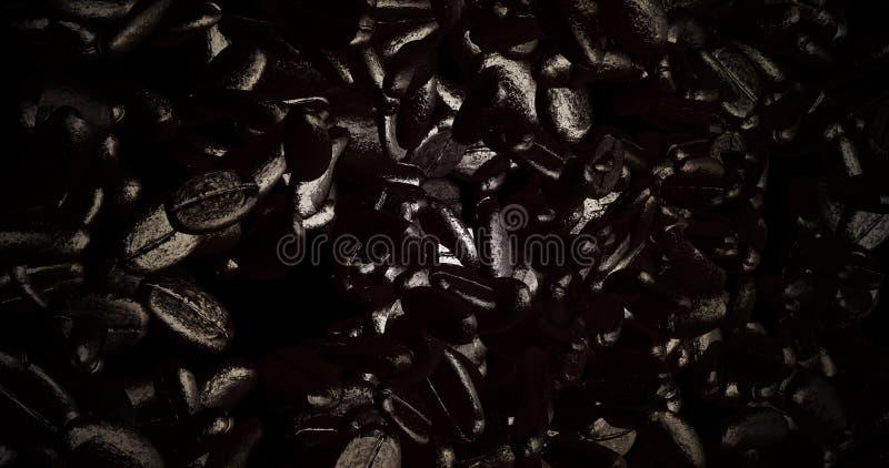 3d新鲜的咖啡豆翻译与好的颜色的 向量例证