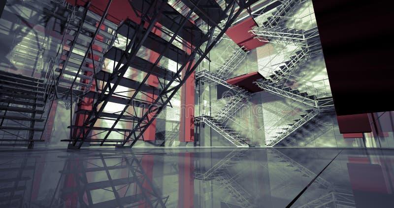 3d方式。现代工业内部,台阶,干净的空间在印度斯 向量例证