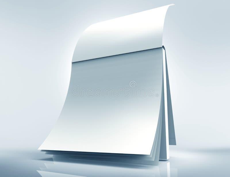 3d日历的例证与空白页的 向量例证