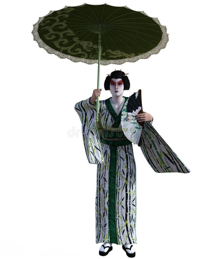 3D日本艺妓的例证 库存例证
