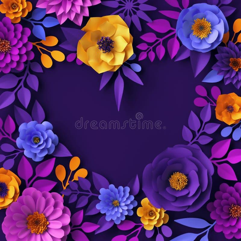 3d明亮的霓虹纸花设计,花卉心脏空白的横幅,贺卡模板,情人节概念,欢乐剪贴美术 皇族释放例证