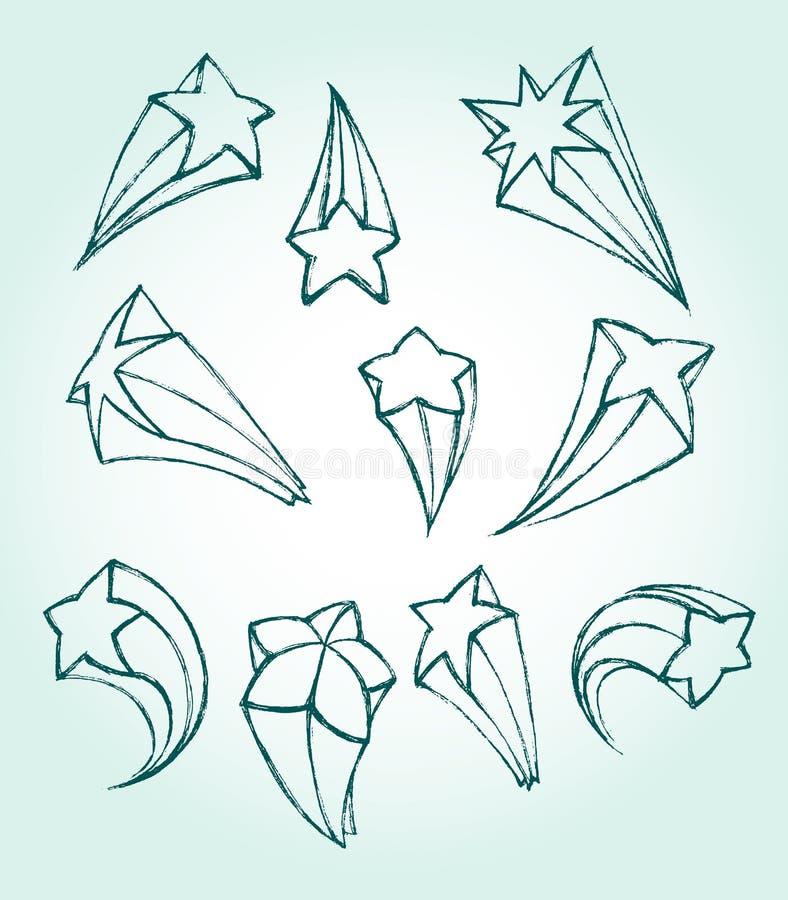 3D星剪影 库存例证