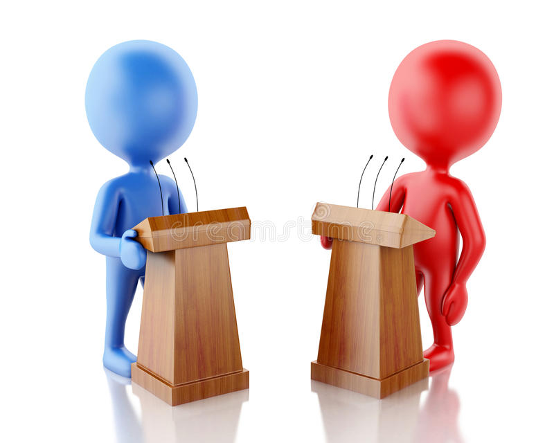 3d是的人们对手在辩论中 皇族释放例证