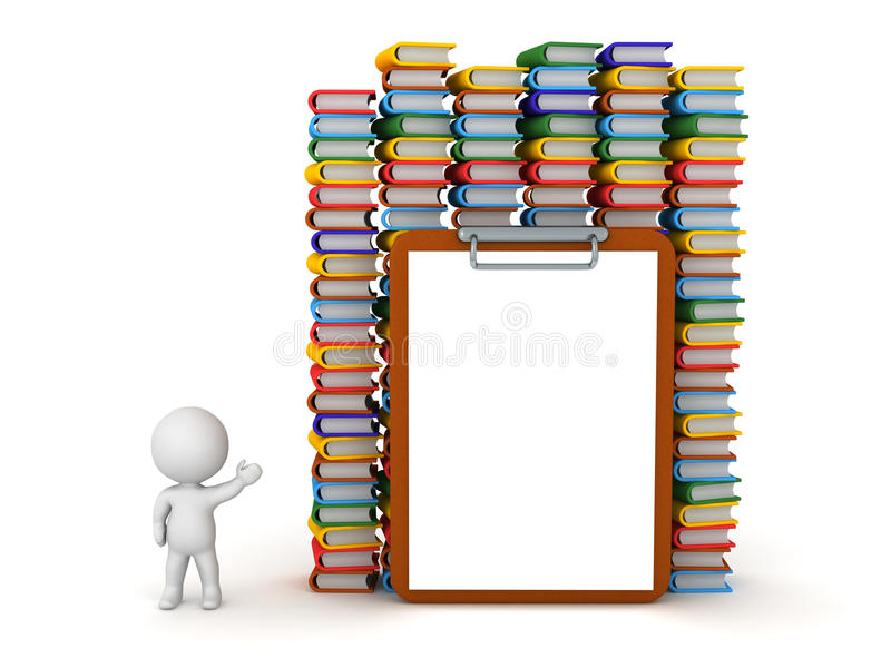 3D显示五颜六色的书和大空的剪贴板的字符 向量例证